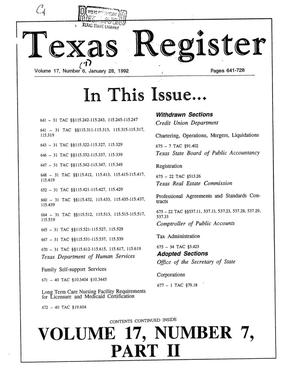 Texas Register, Volume 17, Number 7, (Part II) Pages 641-728, January 28, 1992