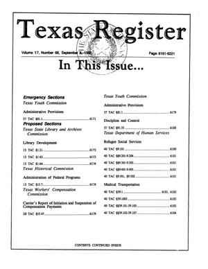 Primary view of object titled 'Texas Register, Volume 17, Number 68, Pages 6161-6221, September 8, 1992'.