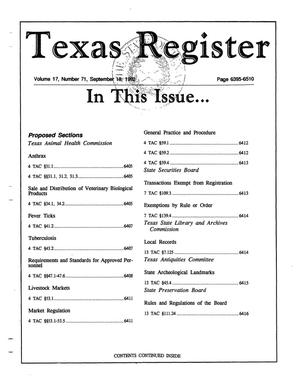Primary view of object titled 'Texas Register, Volume 17, Number 71, Pages 6395-6510, September 18, 1992'.