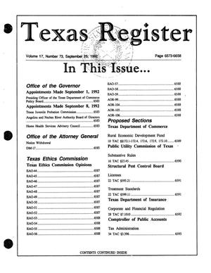 Primary view of object titled 'Texas Register, Volume 17, Number 73, Pages 6573-6658, September 25, 1992'.