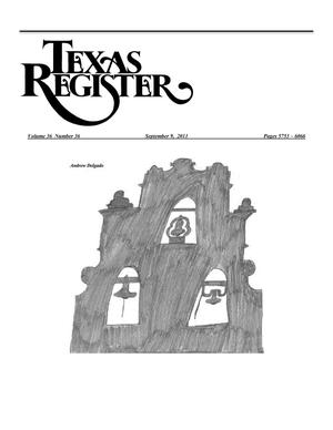 Primary view of object titled 'Texas Register, Volume 36, Number 36, Pages 5753-6066, September 9, 2011'.