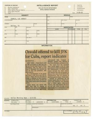 Primary view of object titled '[Intelligence Report: Dallas Morning News Clipping, May 28, 1982]'.