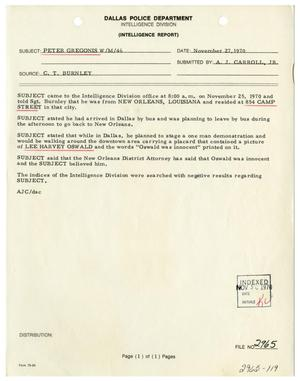 Primary view of object titled '[Intelligence Report - Peter Gregonis]'.