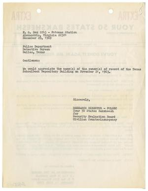 Primary view of object titled '[Intelligence Report - Letter to Dallas Police Department]'.
