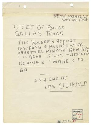 Primary view of object titled '[Anonymous Letter to Chief of Police, October 20, 1964]'.