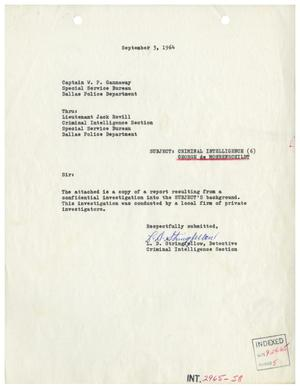 Primary view of object titled '[George de Mohrenschildt Background Report, September 3, 1964]'.