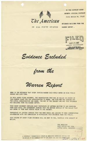 [Handbill of Evidence Excluded from the Warren Report #3]