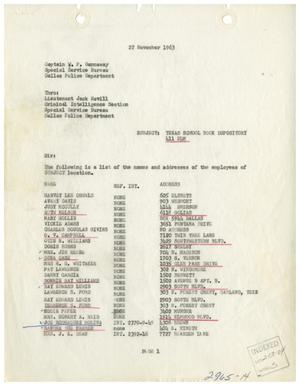Primary view of object titled '[Intelligence Report - Texas School Book Depository, November 22, 1963]'.