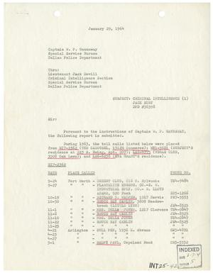 Primary view of object titled '[Intelligence Report - Phone Records, January 29, 1964]'.