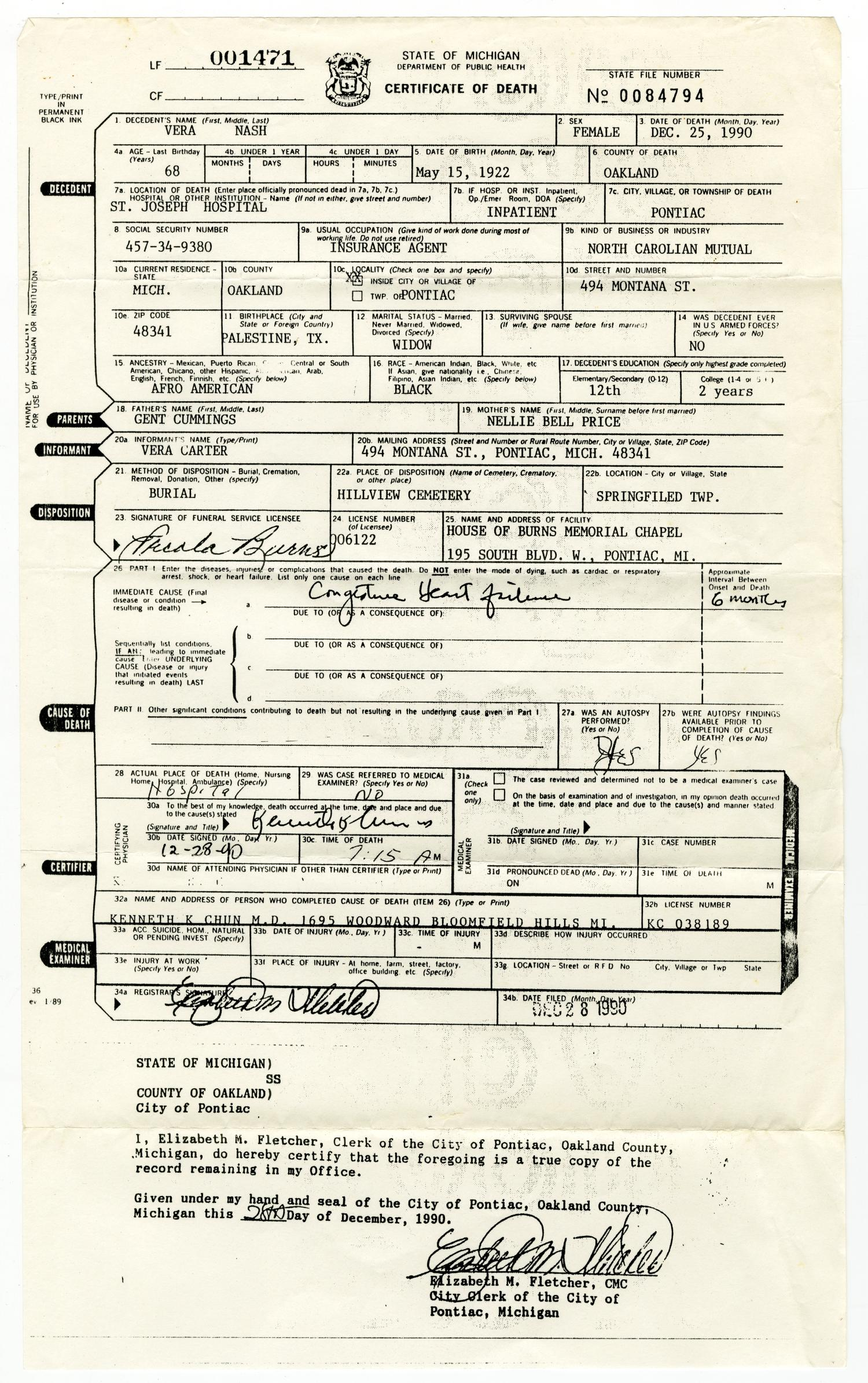 Death Certificate for Vera Nash] - The Portal to Texas History