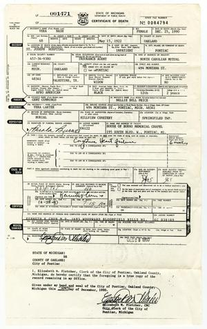 Primary view of object titled '[Death Certificate for Vera Nash]'.