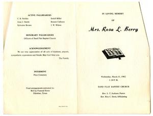 [Funeral Program for Rosa Lee Berry, March 31, 1982]