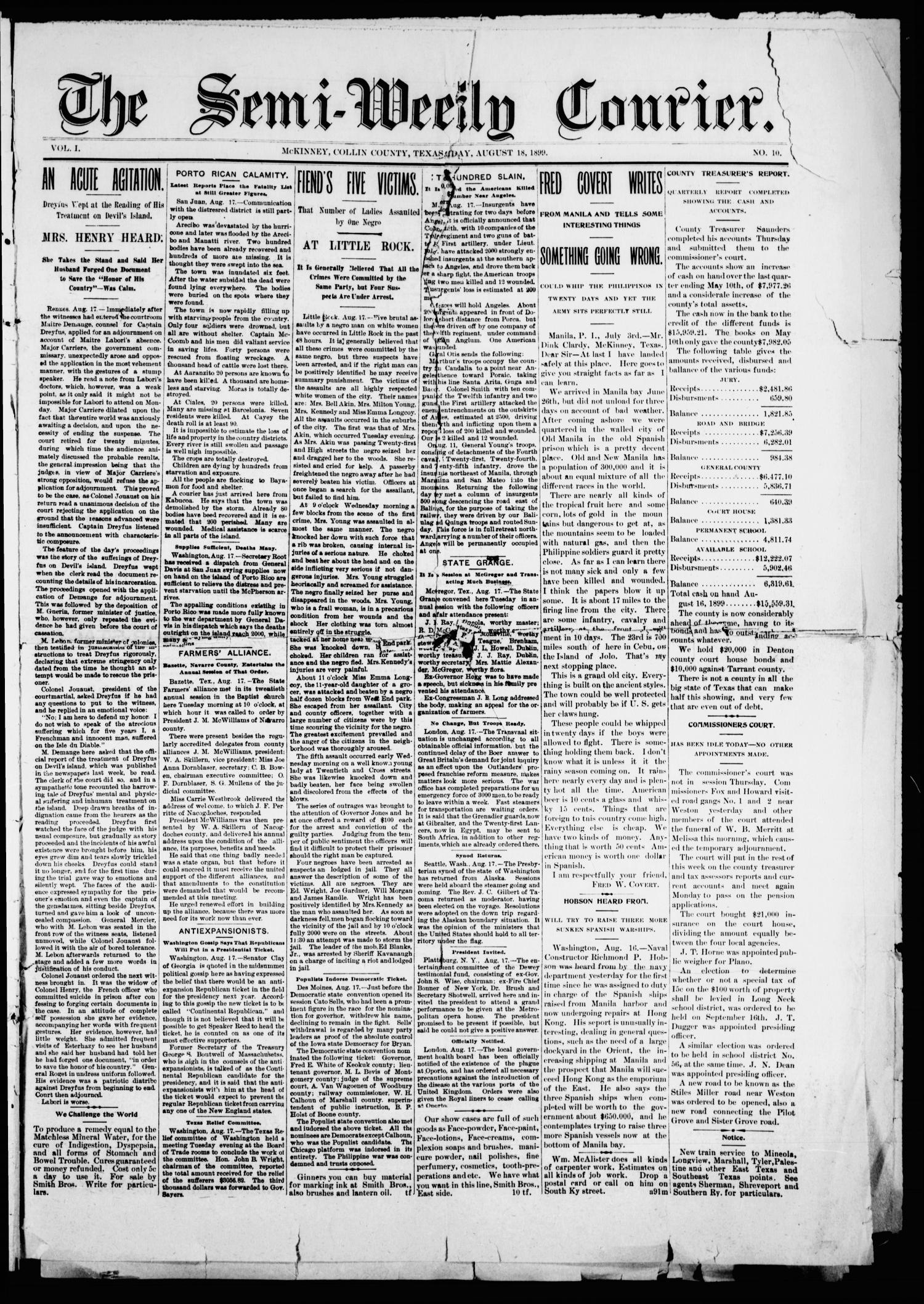 The Semi-Weekly Courier. (McKinney, Tex.), Vol. 1, No. 10, Ed. 1 Friday, August 18, 1899                                                                                                      [Sequence #]: 1 of 8