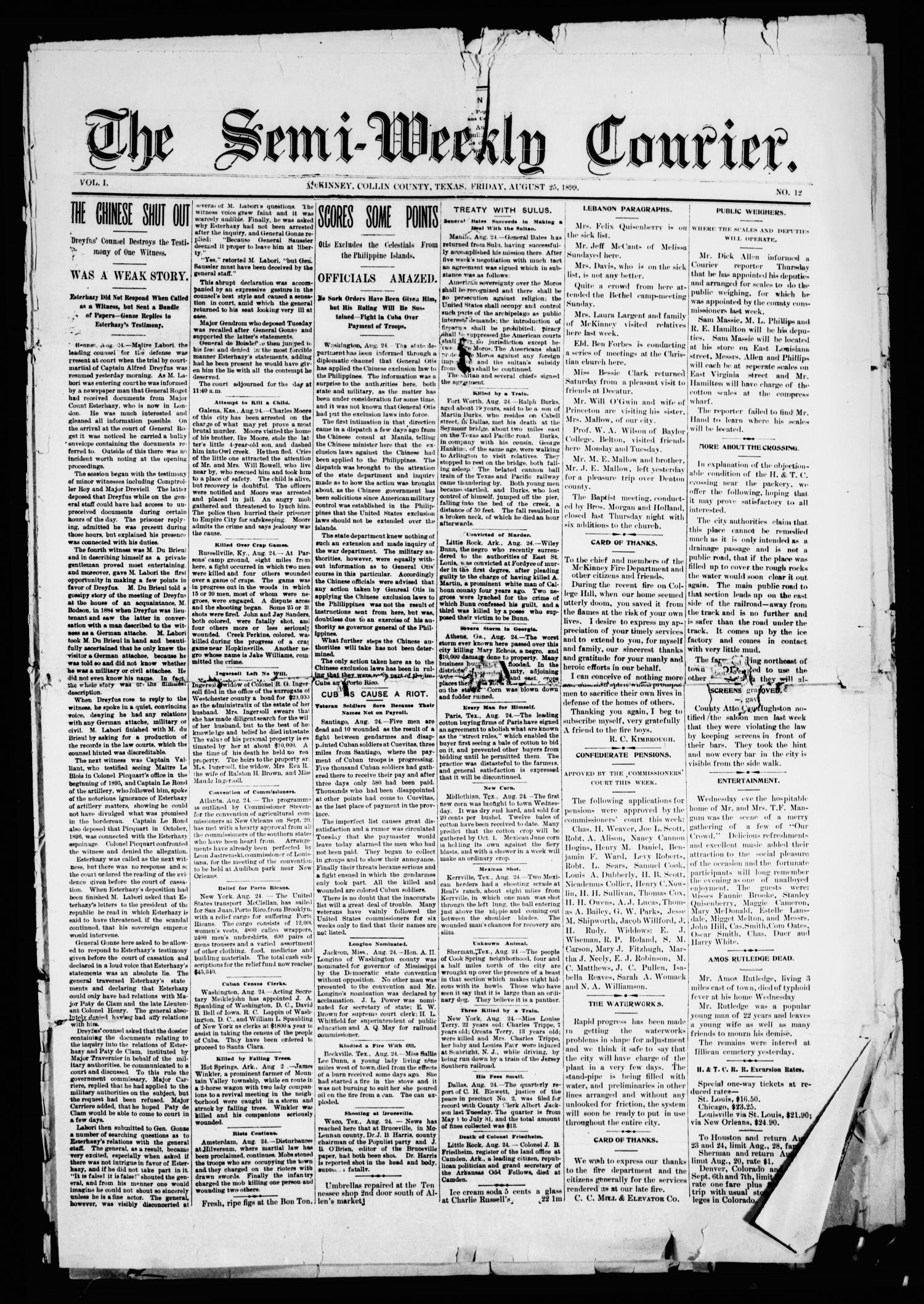 The Semi-Weekly Courier. (McKinney, Tex.), Vol. 1, No. 12, Ed. 1 Friday, August 25, 1899                                                                                                      [Sequence #]: 1 of 8