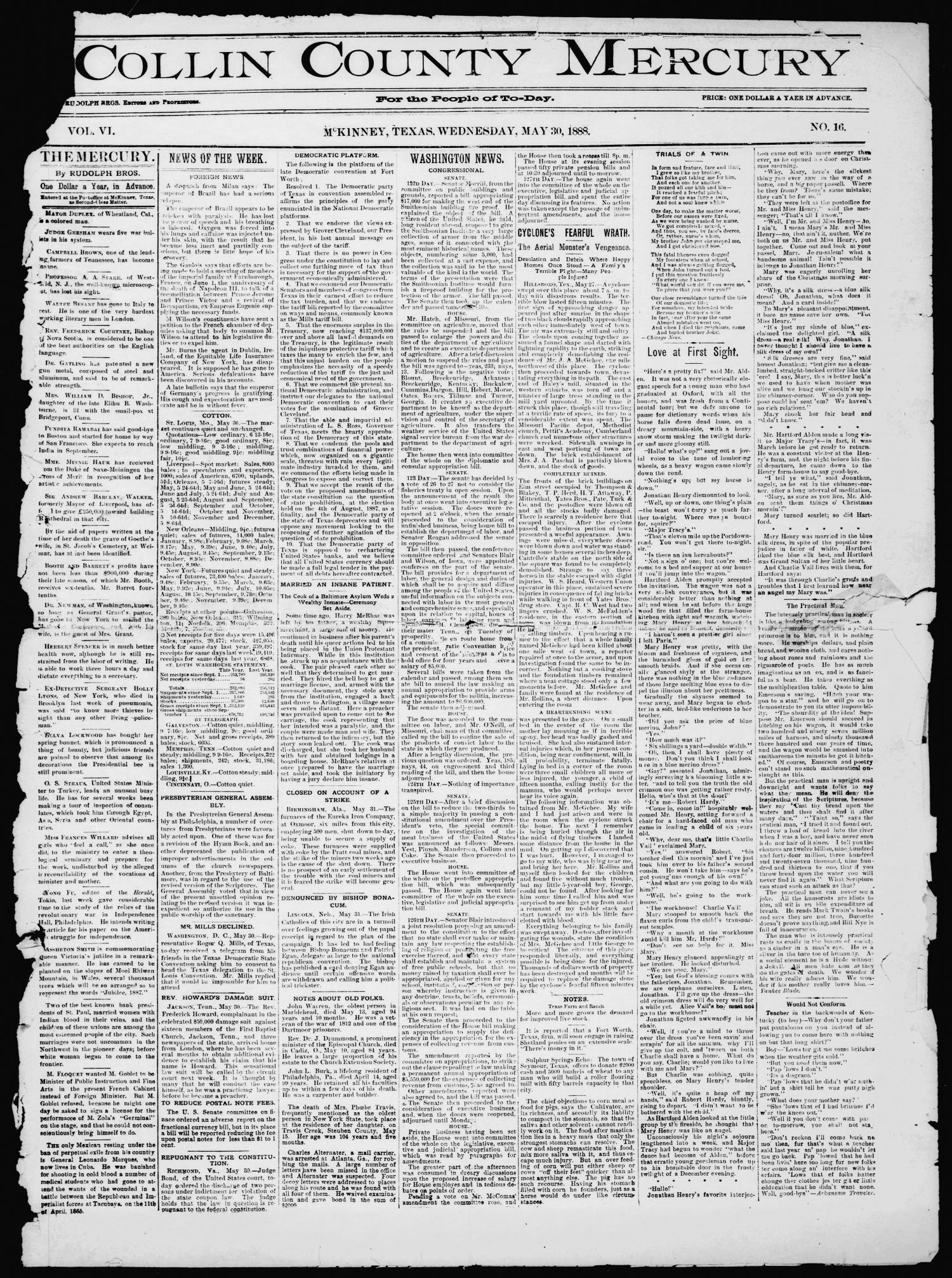 Collin County Mercury (McKinney, Tex.), Vol. 6, No. 16, Ed. 1 Wednesday, May 30, 1888                                                                                                      [Sequence #]: 1 of 4
