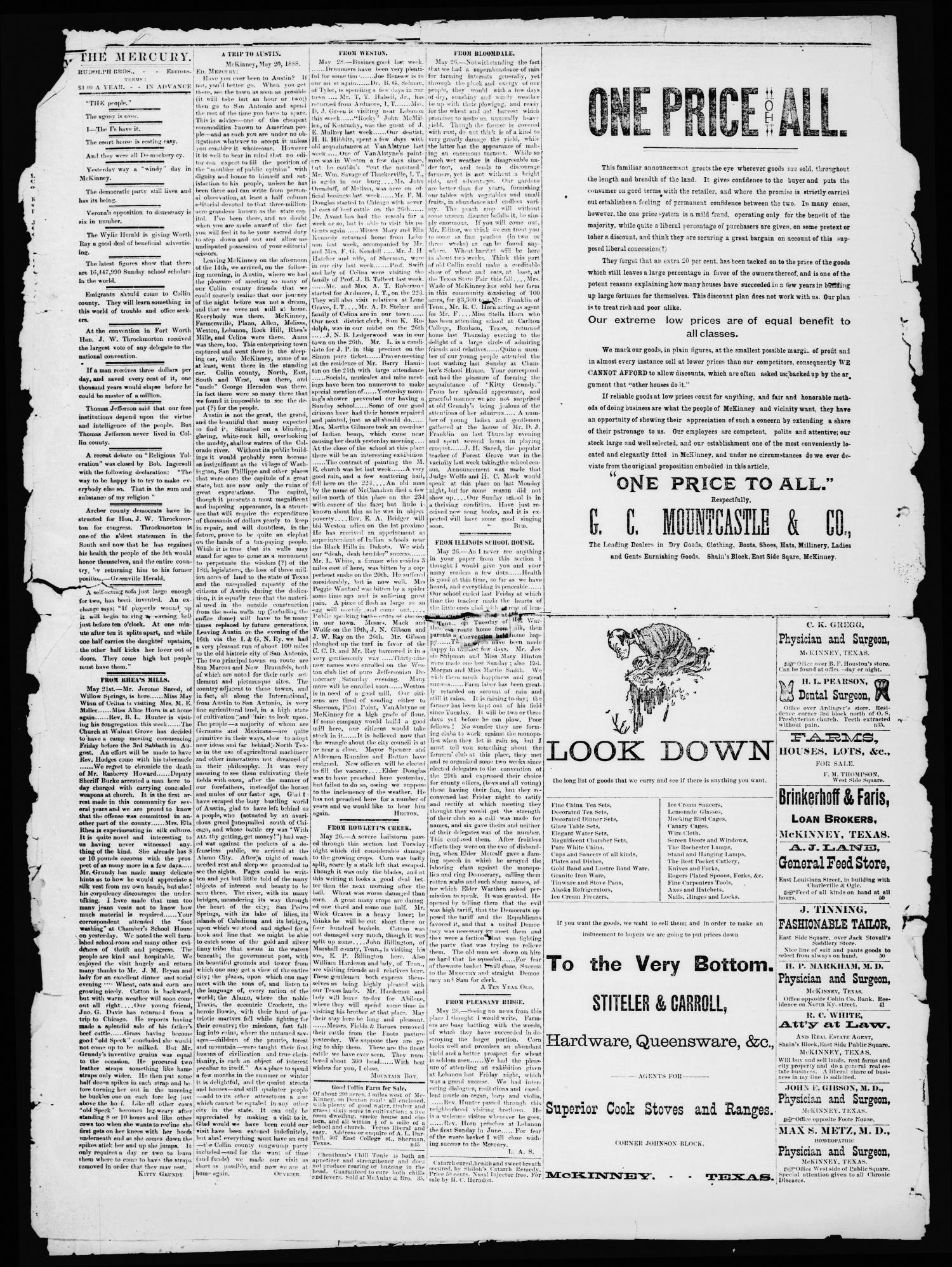 Collin County Mercury (McKinney, Tex.), Vol. 6, No. 16, Ed. 1 Wednesday, May 30, 1888                                                                                                      [Sequence #]: 2 of 4