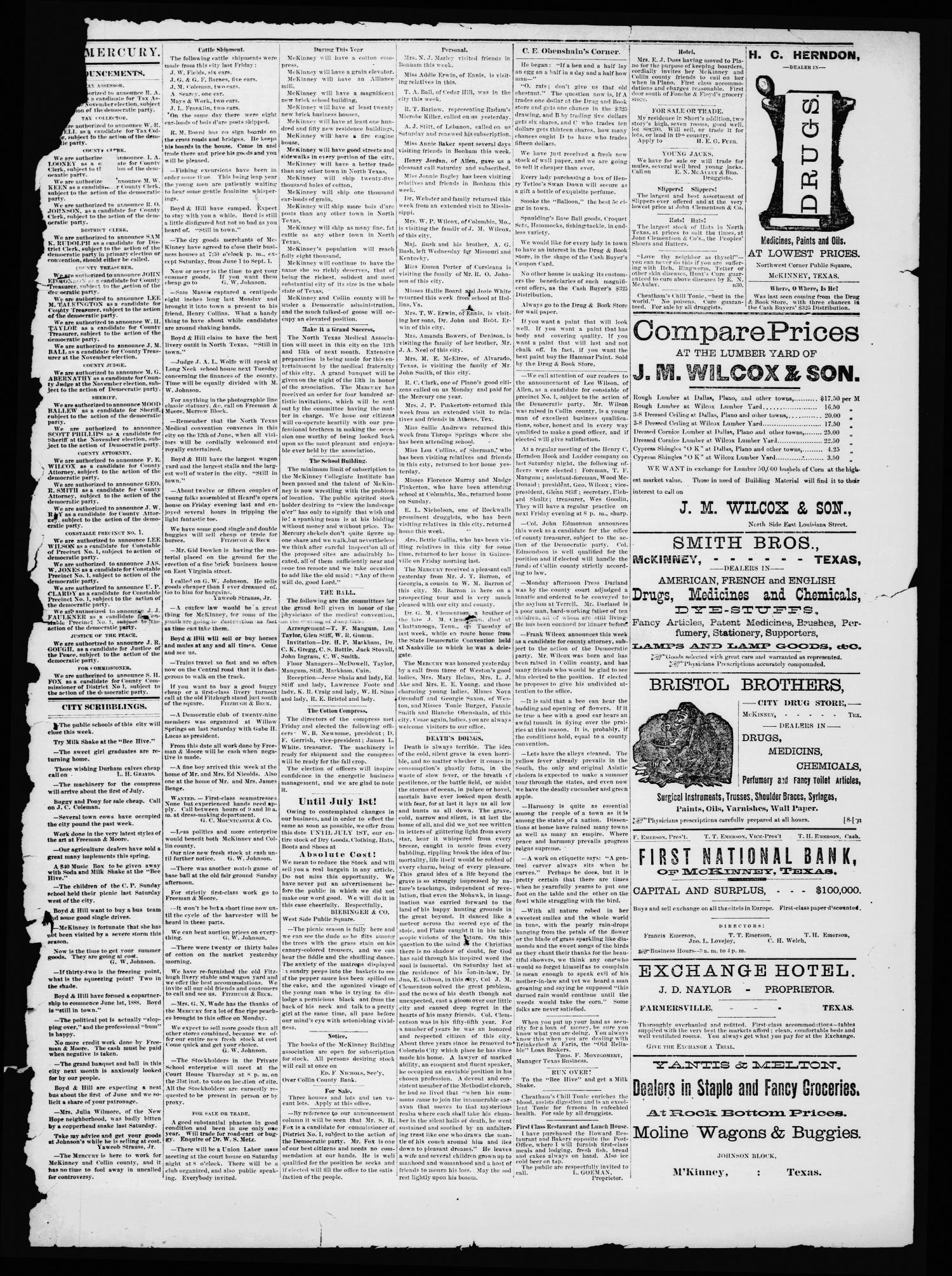 Collin County Mercury (McKinney, Tex.), Vol. 6, No. 16, Ed. 1 Wednesday, May 30, 1888                                                                                                      [Sequence #]: 3 of 4