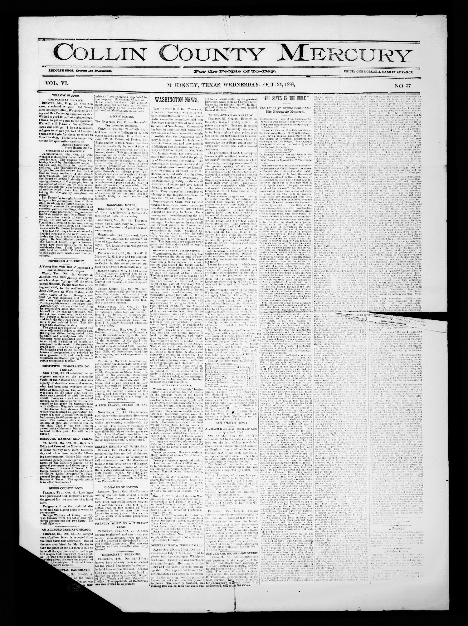 Collin County Mercury (McKinney, Tex.), Vol. 6, No. 37, Ed. 1 Wednesday, October 24, 1888                                                                                                      [Sequence #]: 1 of 4