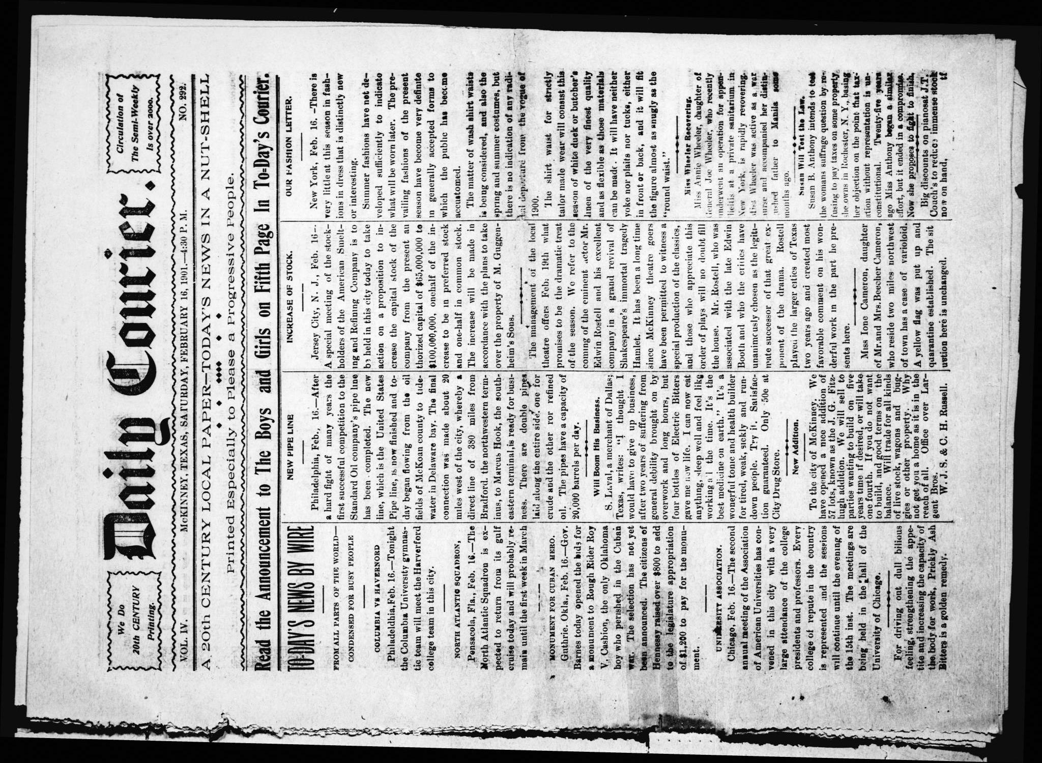 Daily Courier. (McKinney, Tex.), Vol. 4, No. 292, Ed. 1 Saturday, February 16, 1901                                                                                                      [Sequence #]: 1 of 8