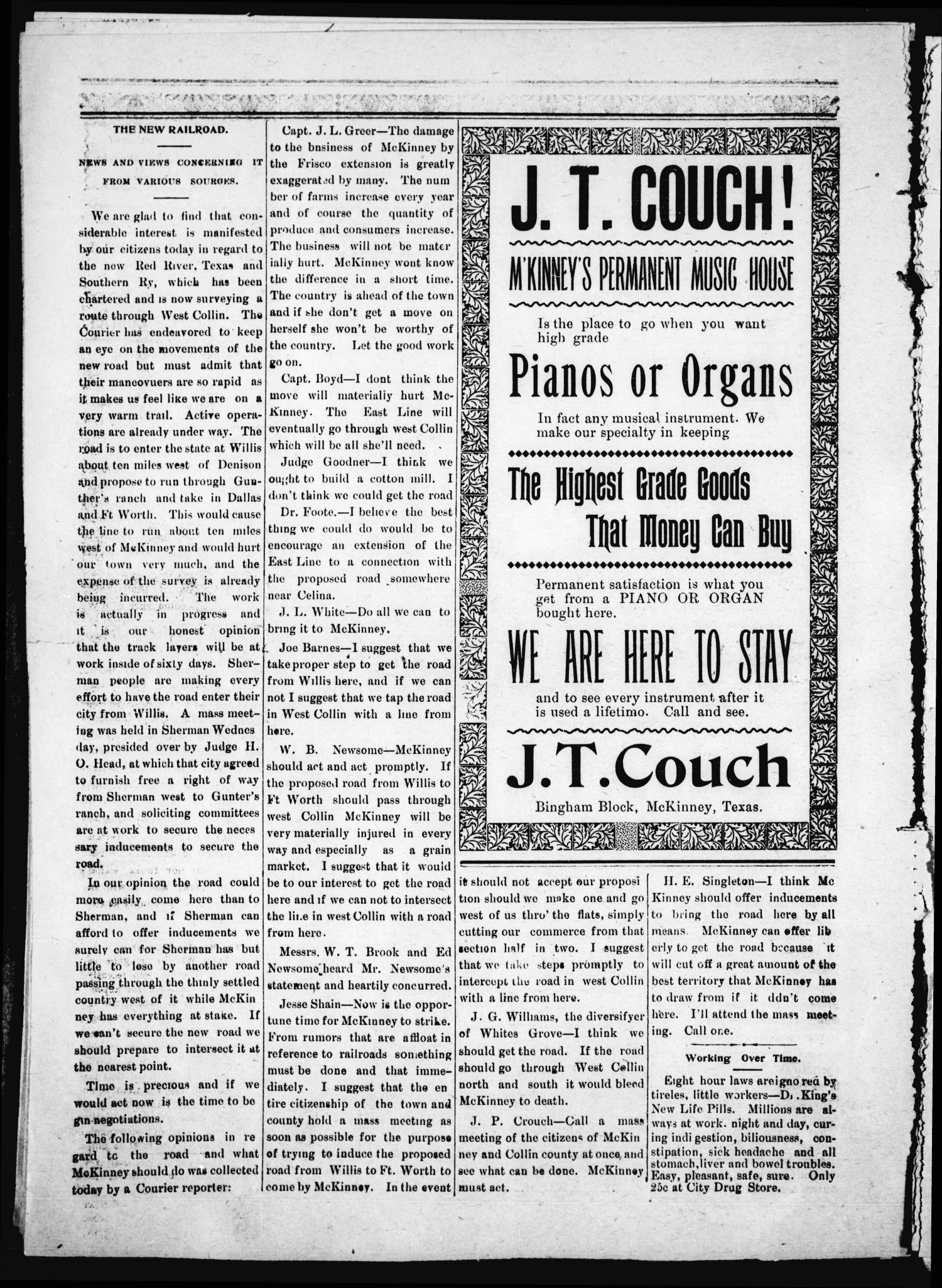 Daily Courier. (McKinney, Tex.), Vol. 4, No. 292, Ed. 1 Saturday, February 16, 1901                                                                                                      [Sequence #]: 2 of 8