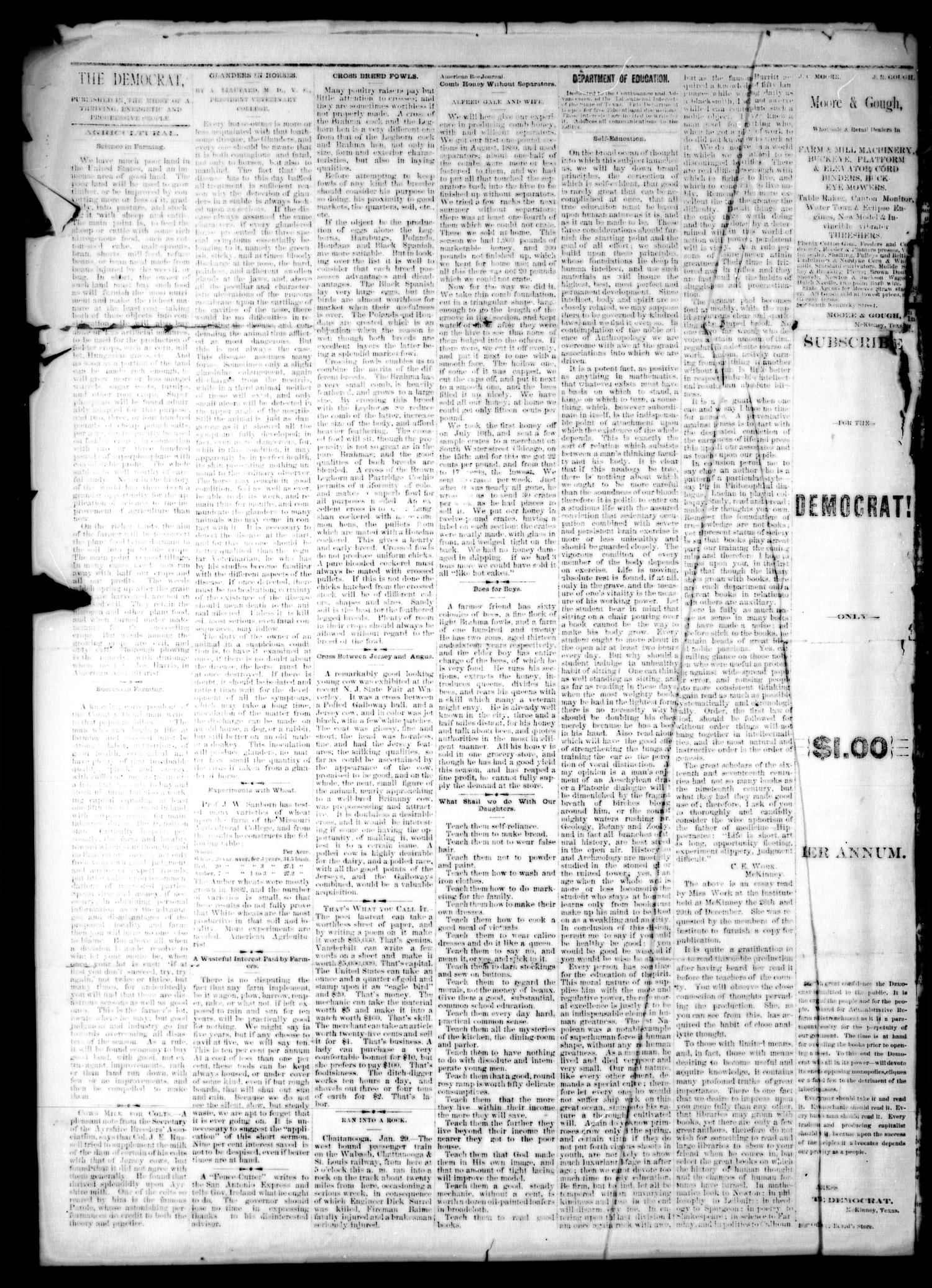 The Democrat. (McKinney, Tex.), Vol. 1, No. 1, Ed. 1 Thursday, February 7, 1884                                                                                                      [Sequence #]: 4 of 4