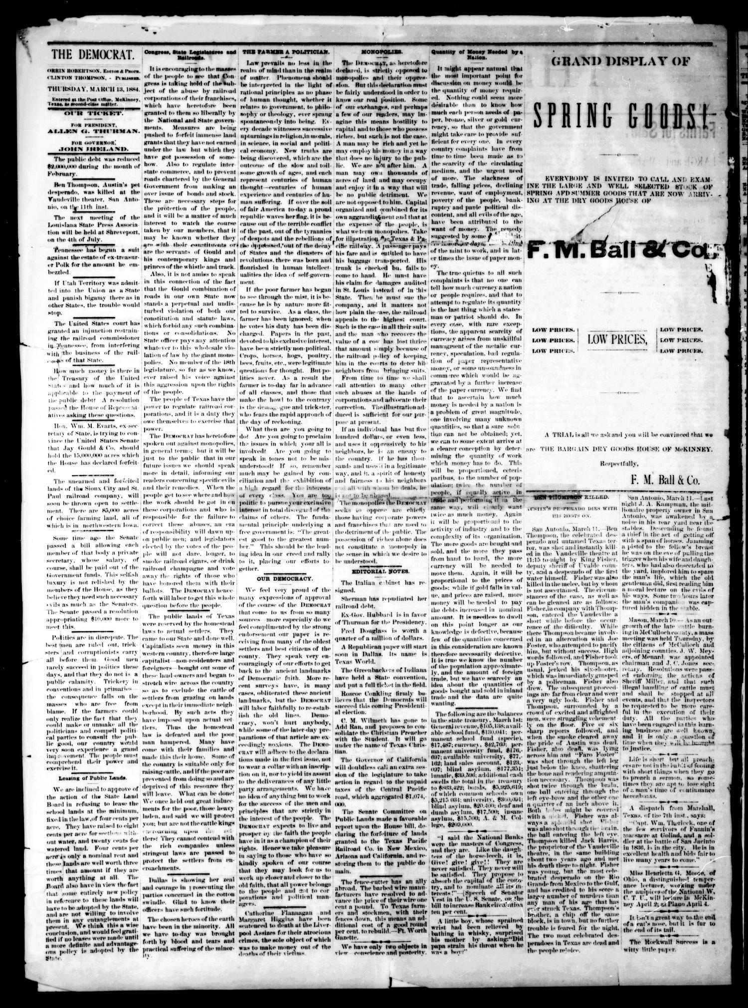 The Democrat. (McKinney, Tex.), Vol. 1, No. 6, Ed. 1 Thursday, March 13, 1884                                                                                                      [Sequence #]: 2 of 4