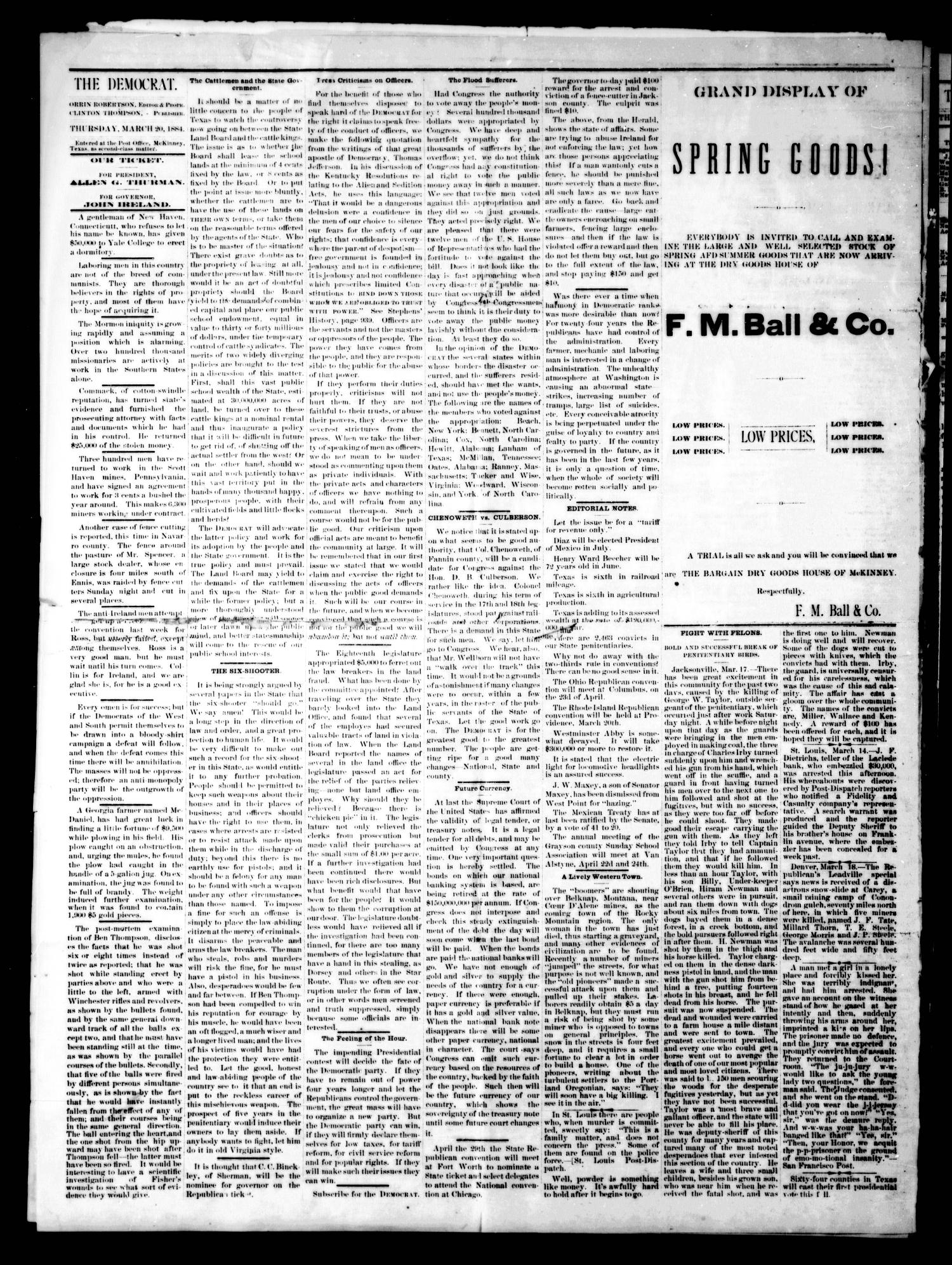 The Democrat. (McKinney, Tex.), Vol. 1, No. 7, Ed. 1 Thursday, March 20, 1884                                                                                                      [Sequence #]: 2 of 4