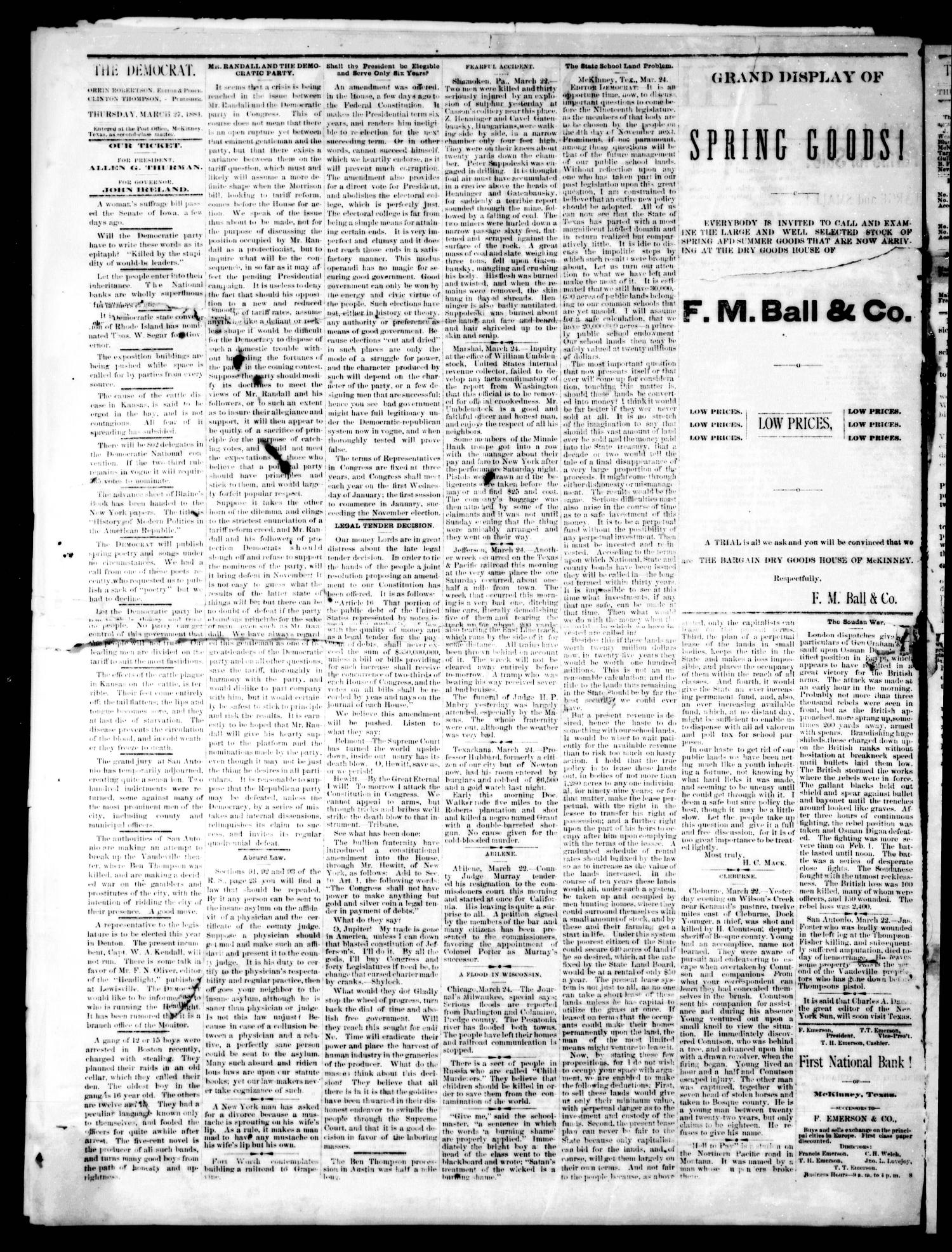 The Democrat. (McKinney, Tex.), Vol. 1, No. 8, Ed. 1 Thursday, March 27, 1884                                                                                                      [Sequence #]: 2 of 4