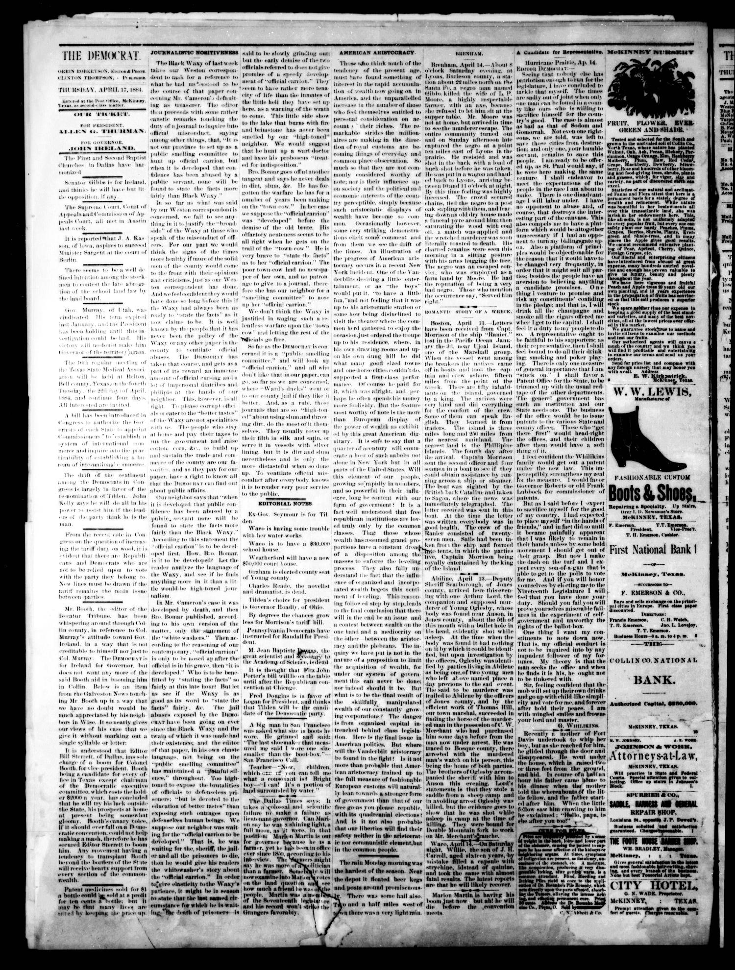 The Democrat. (McKinney, Tex.), Vol. 1, No. 11, Ed. 1 Thursday, April 17, 1884                                                                                                      [Sequence #]: 2 of 4