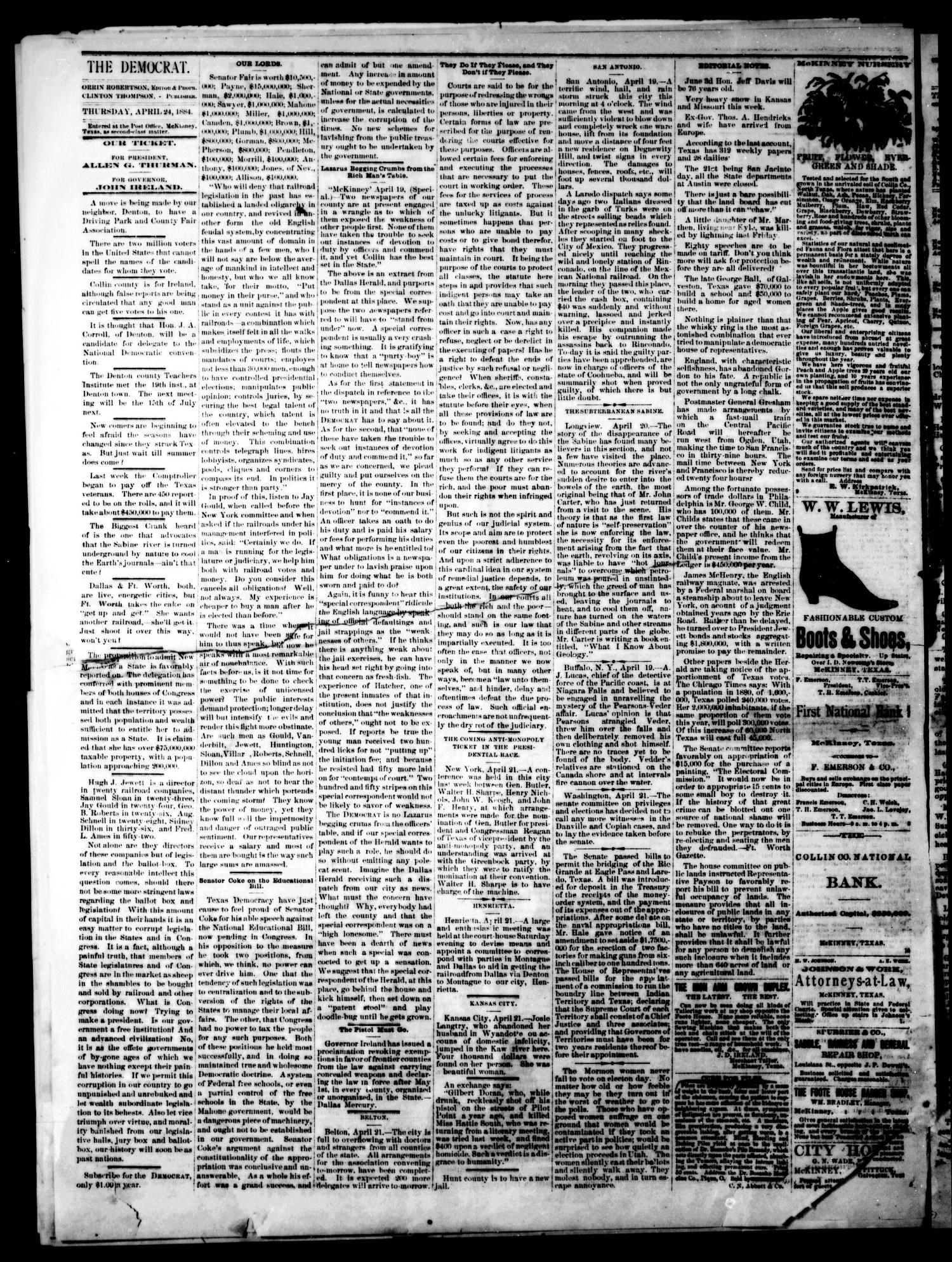 The Democrat. (McKinney, Tex.), Vol. 1, No. 12, Ed. 1 Thursday, April 24, 1884                                                                                                      [Sequence #]: 2 of 4
