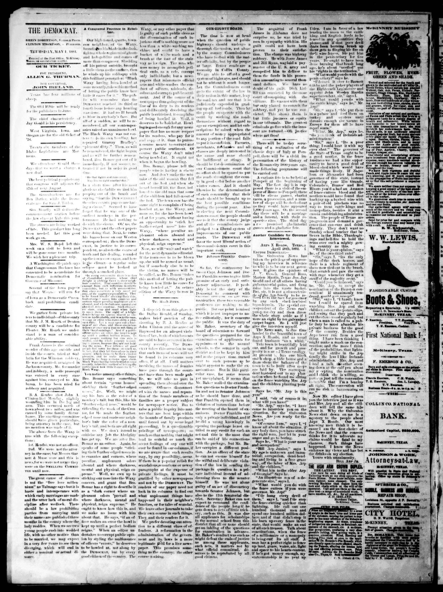 The Democrat. (McKinney, Tex.), Vol. 1, No. 13, Ed. 1 Thursday, May 1, 1884                                                                                                      [Sequence #]: 2 of 4