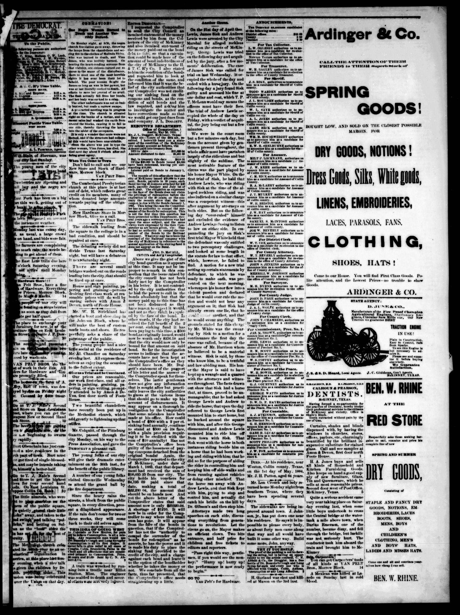 The Democrat. (McKinney, Tex.), Vol. 1, No. 14, Ed. 1 Thursday, May 8, 1884                                                                                                      [Sequence #]: 3 of 4