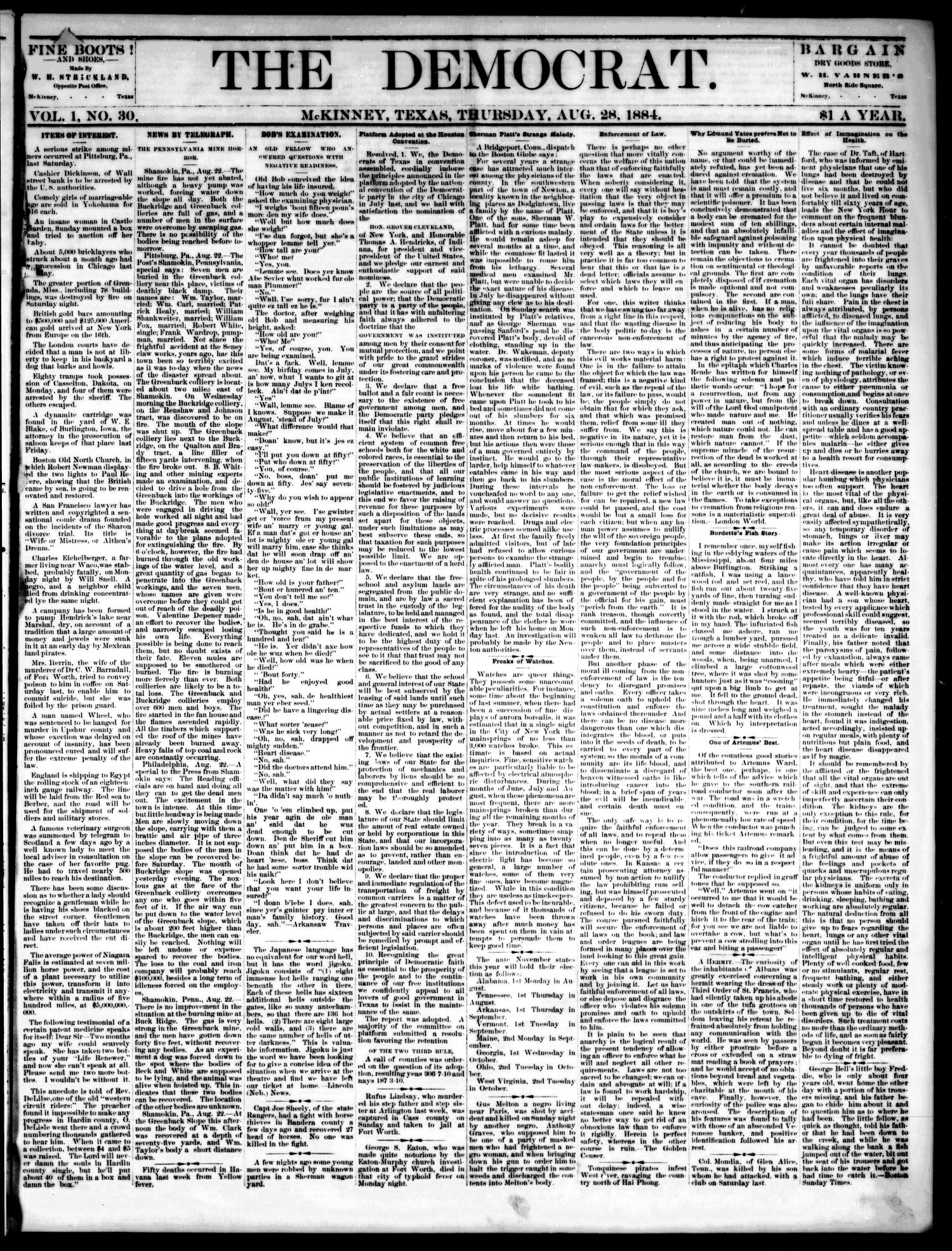 The Democrat. (McKinney, Tex.), Vol. 1, No. 30, Ed. 1 Thursday, August 28, 1884                                                                                                      [Sequence #]: 1 of 4