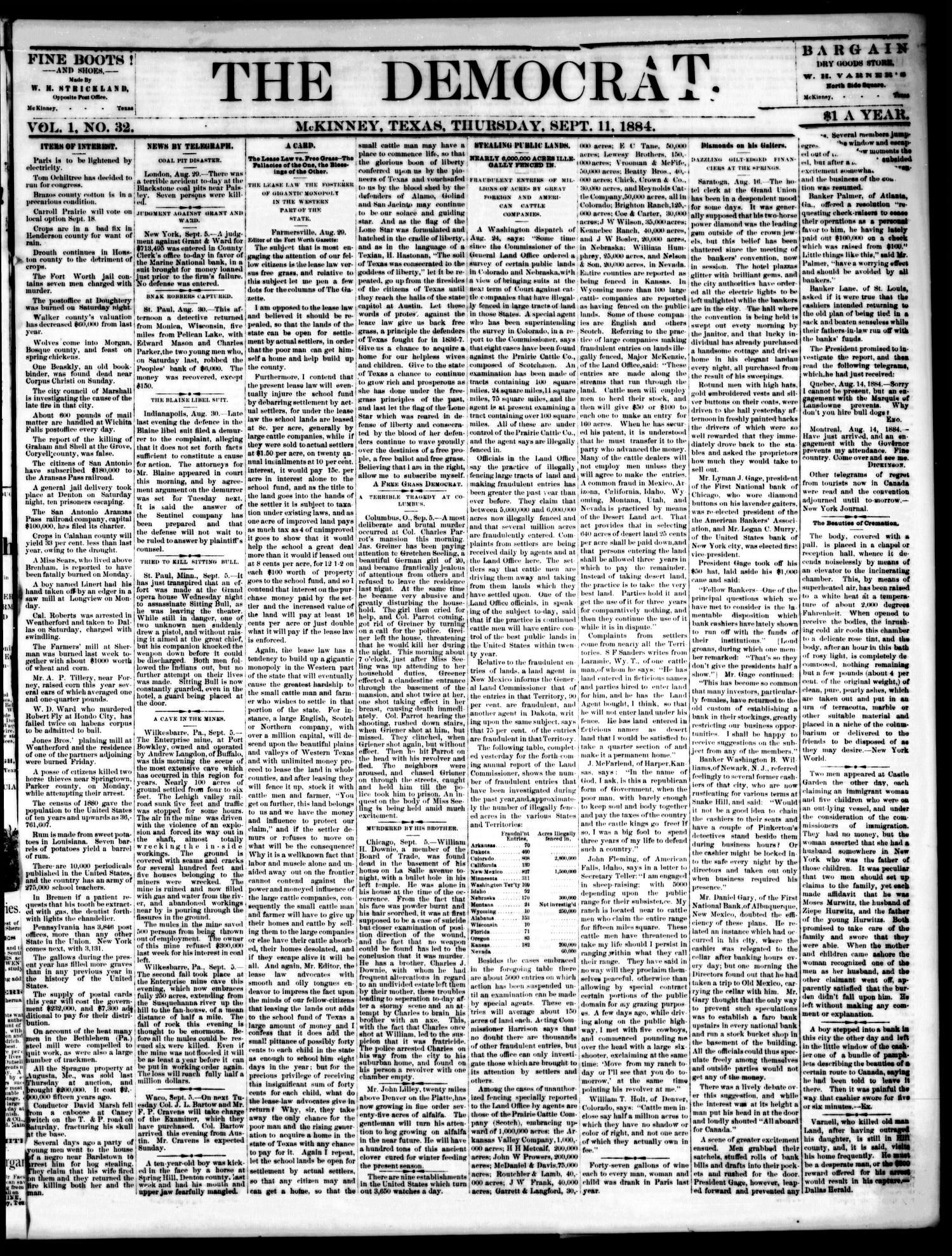 The Democrat. (McKinney, Tex.), Vol. 1, No. 32, Ed. 1 Thursday, September 11, 1884                                                                                                      [Sequence #]: 1 of 4