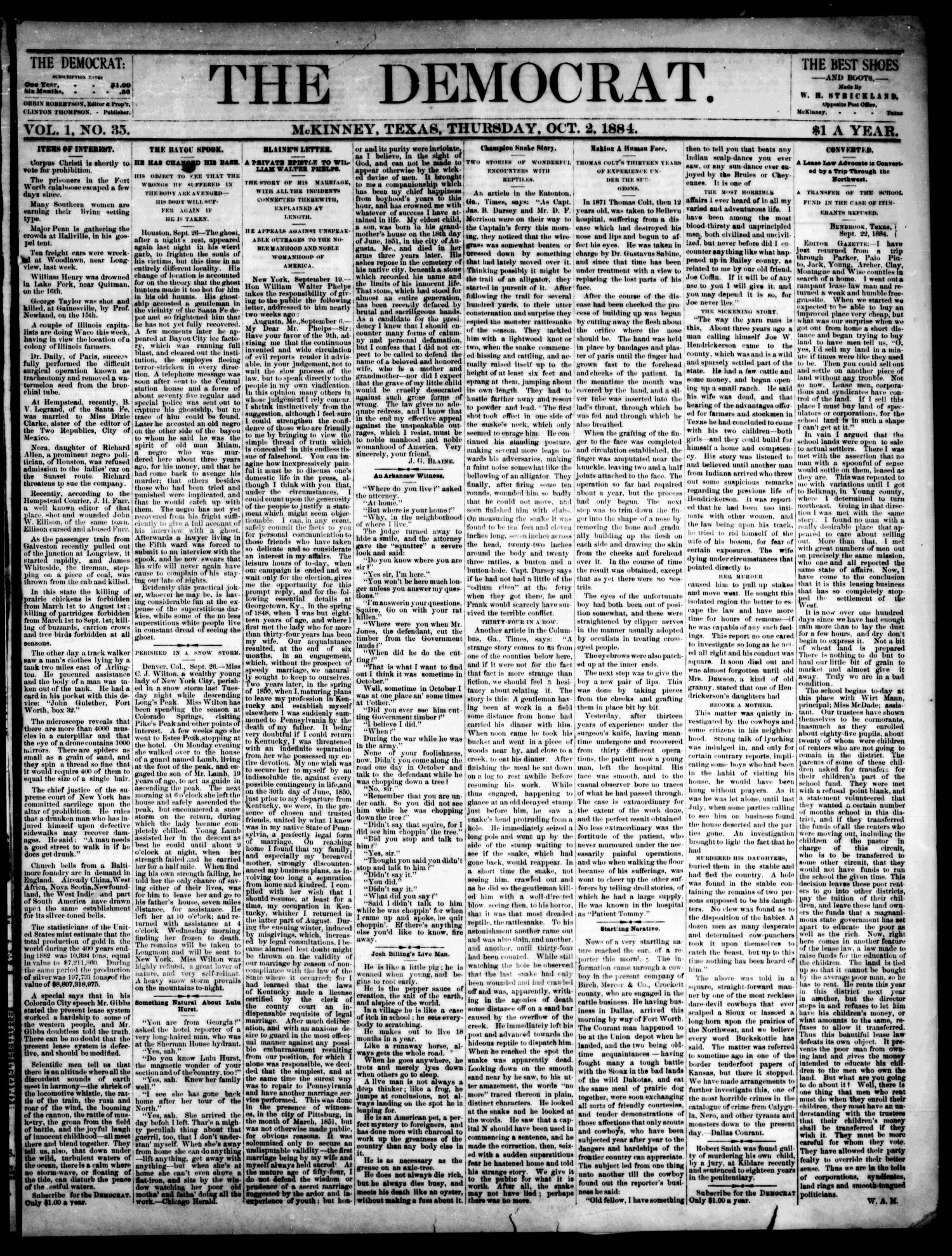 The Democrat. (McKinney, Tex.), Vol. 1, No. 35, Ed. 1 Thursday, October 2, 1884                                                                                                      [Sequence #]: 1 of 4