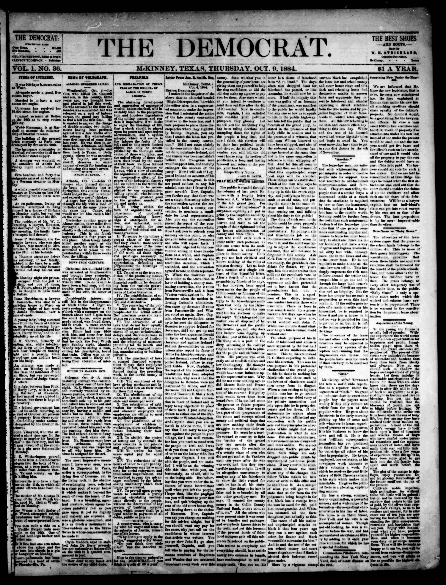 The Democrat. (McKinney, Tex.), Vol. 1, No. 36, Ed. 1 Thursday, October 9, 1884                                                                                                      [Sequence #]: 1 of 4