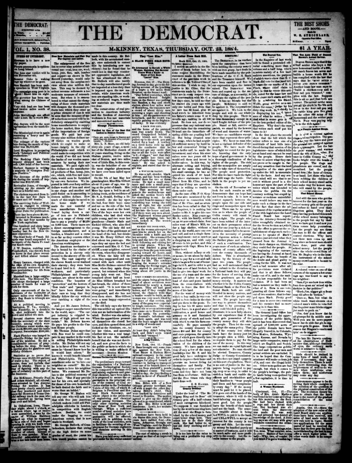 The Democrat. (McKinney, Tex.), Vol. 1, No. 38, Ed. 1 Thursday, October 23, 1884                                                                                                      [Sequence #]: 1 of 4
