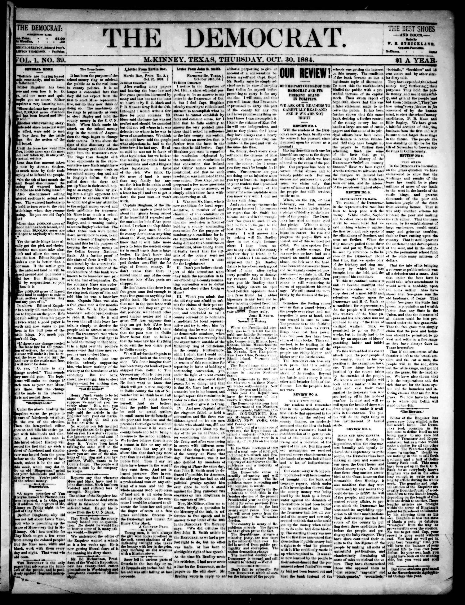 The Democrat. (McKinney, Tex.), Vol. 1, No. 39, Ed. 1 Thursday, October 30, 1884                                                                                                      [Sequence #]: 1 of 4