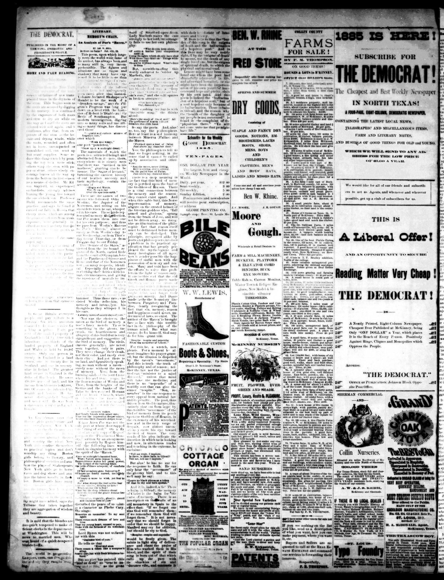 The Democrat. (McKinney, Tex.), Vol. 1, No. 47, Ed. 1 Thursday, January 1, 1885                                                                                                      [Sequence #]: 4 of 4