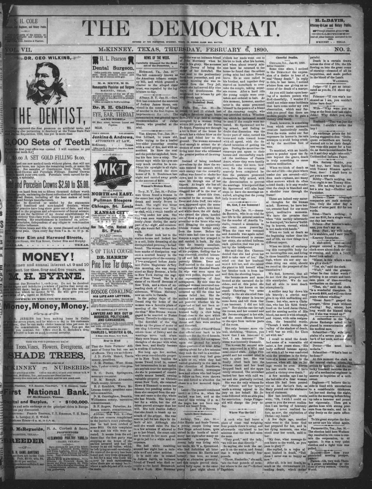 The Democrat. (McKinney, Tex.), Vol. 7, No. 2, Ed. 1 Thursday, February 6, 1890                                                                                                      [Sequence #]: 1 of 4