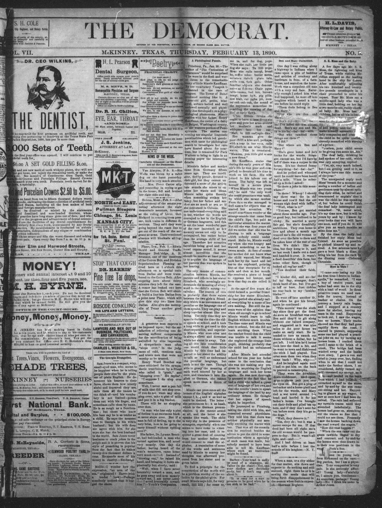The Democrat. (McKinney, Tex.), Vol. 7, No. 3, Ed. 1 Thursday, February 13, 1890                                                                                                      [Sequence #]: 1 of 4