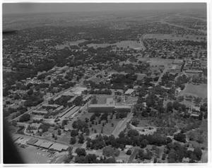 Primary view of object titled 'Aerial view of 919 E. 32nd St. - St. David's Hospital'.