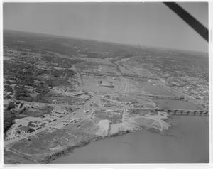 Primary view of object titled 'Aerials of area around Congress Avenue Bridge'.