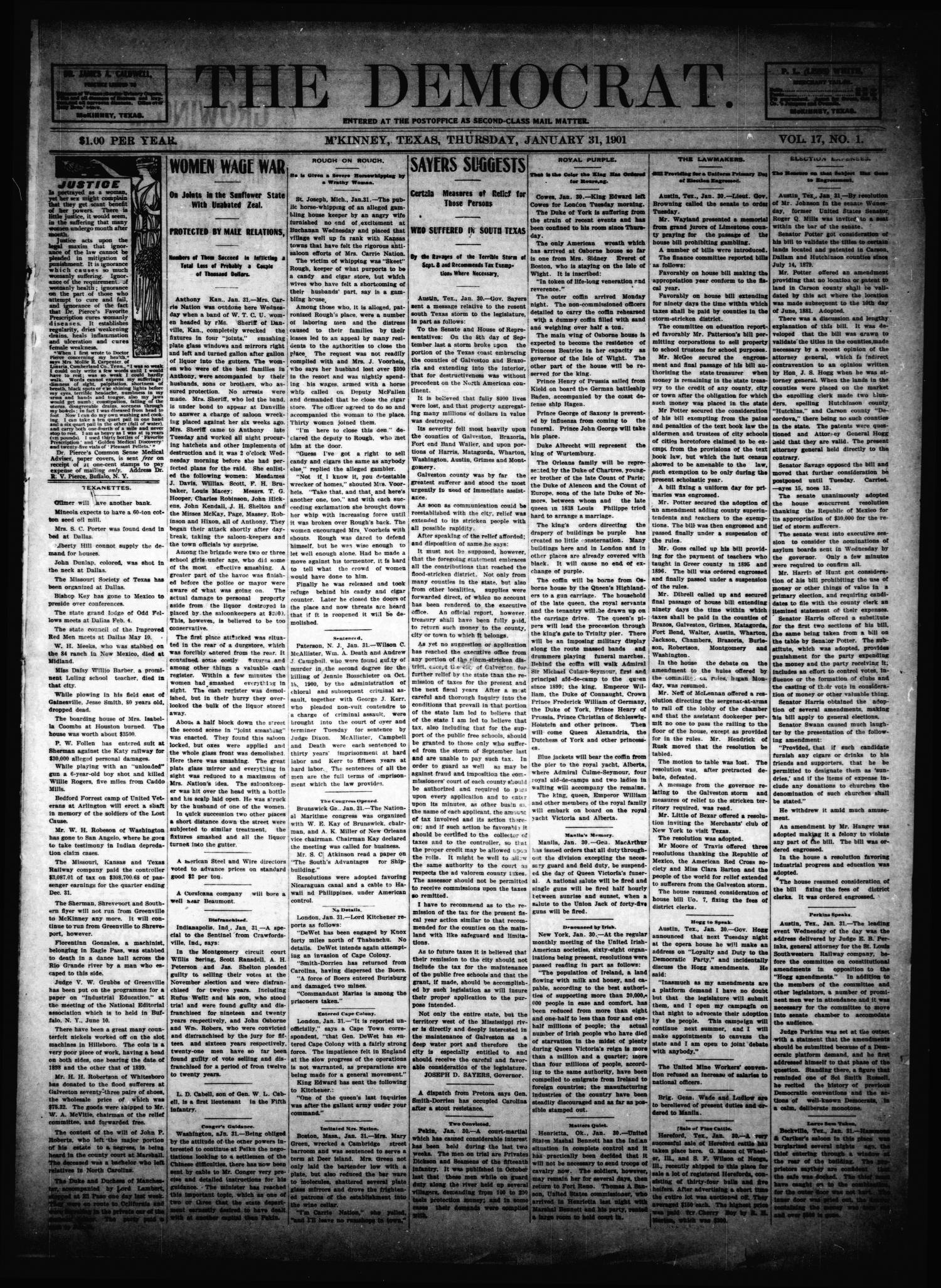 The Democrat. (McKinney, Tex.), Vol. 17, No. 1, Ed. 1 Thursday, January 31, 1901                                                                                                      [Sequence #]: 1 of 8