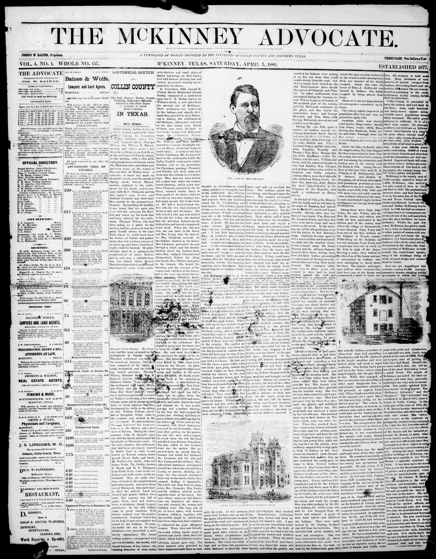 The McKinney Advocate. (McKinney, Tex.), Vol. 4, No. 1, Ed. 1 Saturday, April 3, 1880                                                                                                      [Sequence #]: 1 of 4