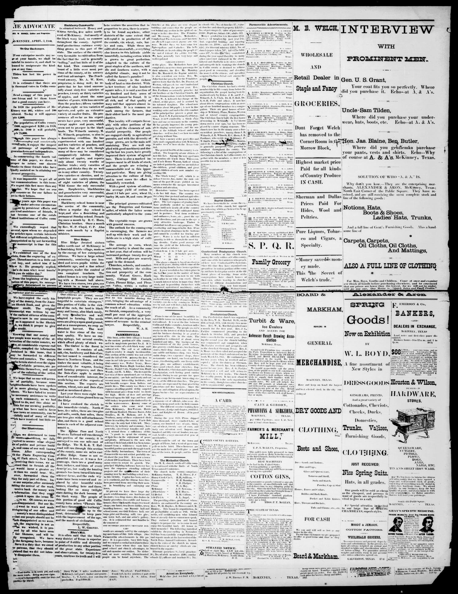 The McKinney Advocate. (McKinney, Tex.), Vol. 4, No. 1, Ed. 1 Saturday, April 3, 1880                                                                                                      [Sequence #]: 2 of 4