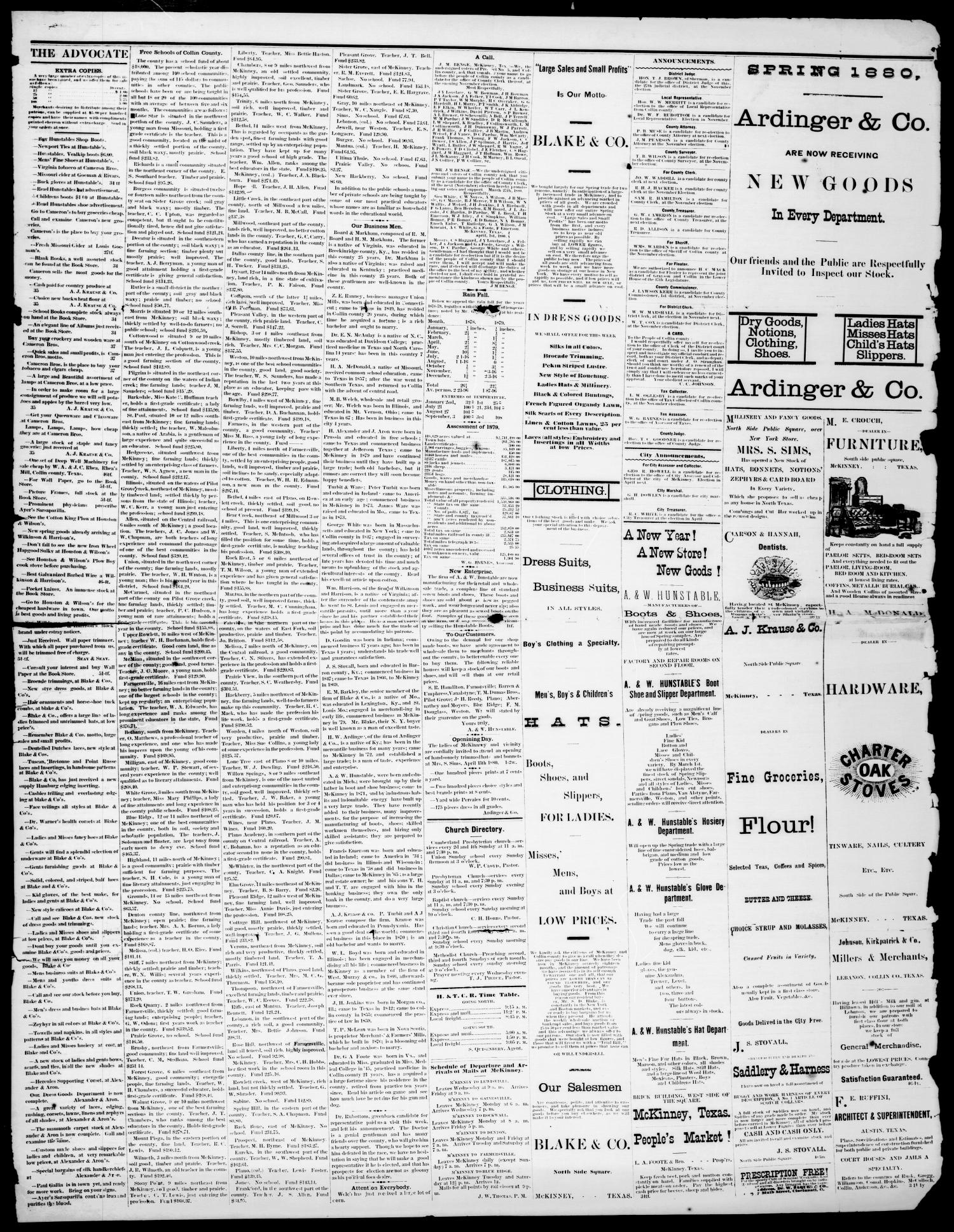 The McKinney Advocate. (McKinney, Tex.), Vol. 4, No. 1, Ed. 1 Saturday, April 3, 1880                                                                                                      [Sequence #]: 3 of 4
