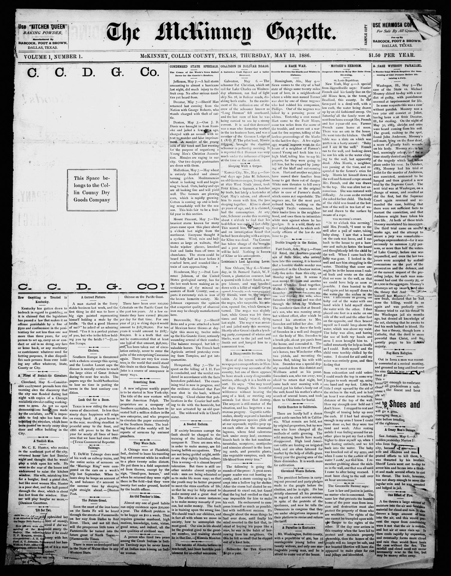 The McKinney Gazette. (McKinney, Tex.), Vol. 1, No. 1, Ed. 1 Thursday, May 13, 1886                                                                                                      [Sequence #]: 1 of 4