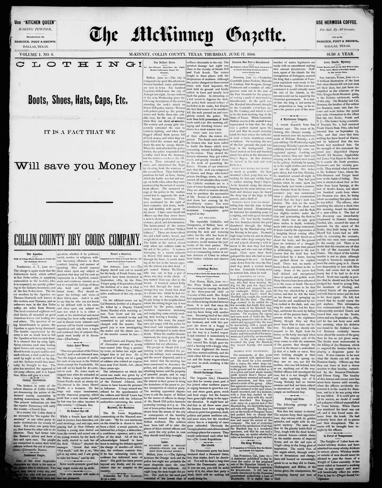 The McKinney Gazette. (McKinney, Tex.), Vol. 1, No. 6, Ed. 1 Thursday, June 17, 1886                                                                                                      [Sequence #]: 1 of 4