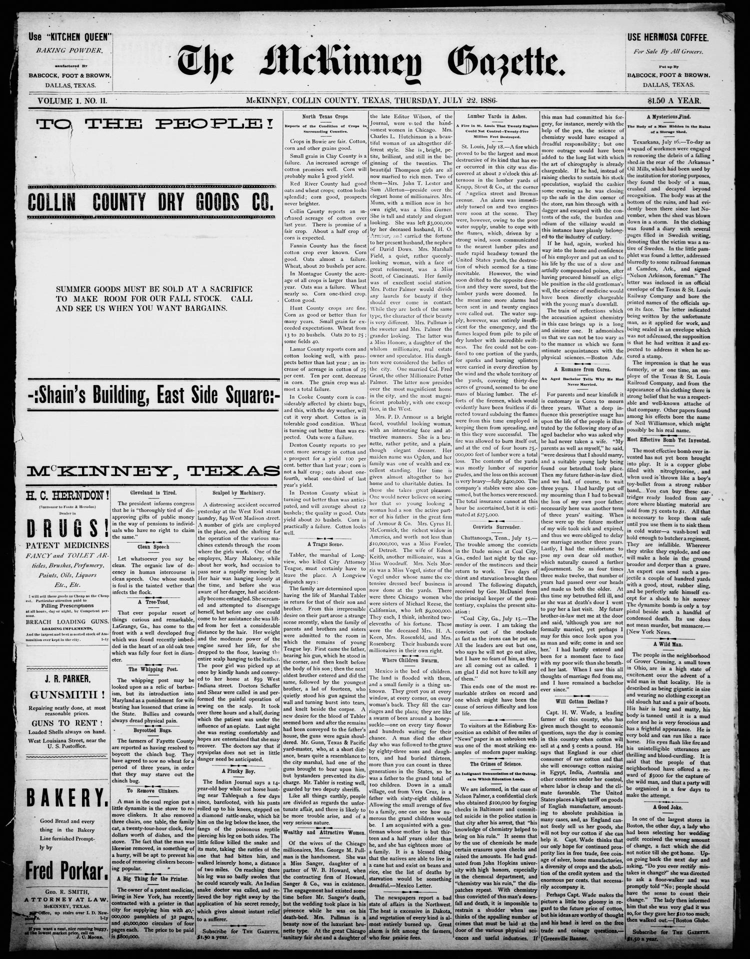 The McKinney Gazette. (McKinney, Tex.), Vol. 1, No. 11, Ed. 1 Thursday, July 22, 1886                                                                                                      [Sequence #]: 1 of 4